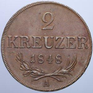 reverse: AUSTRIA FRANCESCO GIUSEPPE I 2 KREUZER 1848 17,74 GR. SPL-FDC