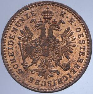 obverse: AUSTRIA FRANCESCO GIUSEPPE I 1 KREUZER 1881 3,40 GR. FDC ROSSO