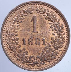 reverse: AUSTRIA FRANCESCO GIUSEPPE I 1 KREUZER 1881 3,40 GR. FDC ROSSO