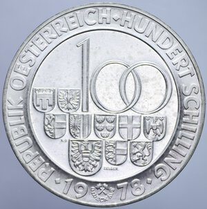 reverse: AUSTRIA 100 SCELLINI 1978 APERTURA TUNNEL DI ARLBERG AG.23,73 GR. FDC