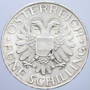 reverse: AUSTRIA 5 SCHILLING 1934 AG. 15 GR. qFDC