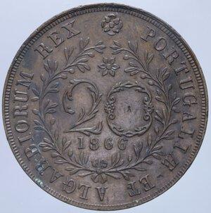 reverse: AZZORRE LUDOVICO I 20 REIS 1866 12,84 GR. qSPL (COLPETTI)
