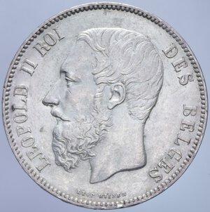obverse: BELGIO LEOPOLDO II 5 FRANCHI 1873 A AG. 24,95 GR. SPL (COLPETTI AL BORDO)