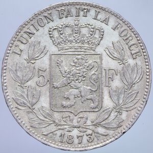 reverse: BELGIO LEOPOLDO II 5 FRANCHI 1873 A AG. 24,95 GR. SPL (COLPETTI AL BORDO)