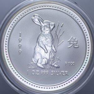 obverse: AUSTRALIA ELISABETTA II 1 DOLLARO 1999 CONIGLIO AG. 31,11 GR. PROOF