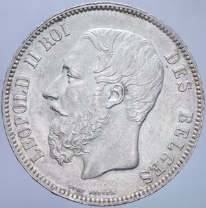 obverse: BELGIO LEOPOLDO II 5 FRANCHI 1873 A AG. 25 GR. SPL+/qFDC (COLPETTO AL BORDO)