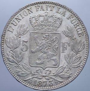 reverse: BELGIO LEOPOLDO II 5 FRANCHI 1873 A AG. 25 GR. SPL+/qFDC (COLPETTO AL BORDO)