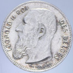 obverse: BELGIO LEOPOLDO II 50 CENTIMES 1909 AG. 2,48 GR. FDC (SEGNETTI)