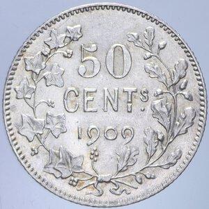 reverse: BELGIO LEOPOLDO II 50 CENTIMES 1909 AG. 2,48 GR. FDC (SEGNETTI)