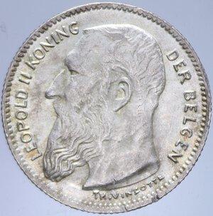 obverse: BELGIO LEOPOLDO II 50 CENTIMES 1909 AG. 2,50 GR. FDC (COLPETTI AL BORDO)