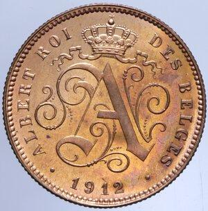 obverse: BELGIO ALBERTO I 2 CENTIMES 1912 4 GR. FDC ROSSO