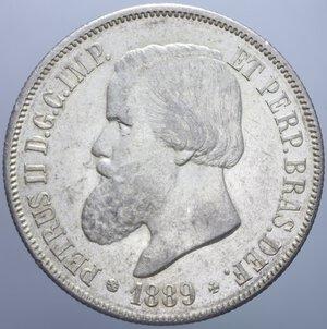 obverse: BRASILE PEDRO II 2000 REIS 1889 AG. 25,62 GR. SPL