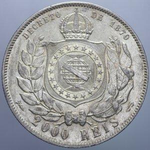 reverse: BRASILE PEDRO II 2000 REIS 1889 AG. 25,62 GR. SPL