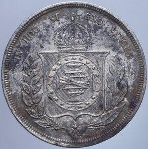 obverse: BRASILE PEDRO II 500 REIS 1858 AG. 6,29 GR. BB