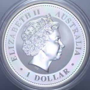 reverse: AUSTRALIA ELISABETTA II 1 DOLLARO 2002 CAVALLO AG. 31,11 GR. PROOF