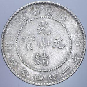 reverse: CINA KWANGTUNG 20 CENT. 1909-1911 AG. 5,39 GR. BB+