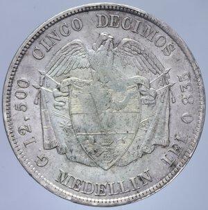 reverse: COLOMBIA 5 DECIMOS 1884 AG. 12,11 GR. BB+