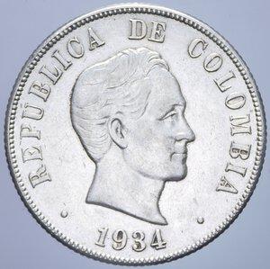 obverse: COLOMBIA 50 CENTAVOS 1934 AG. 12,56 GR. qSPL