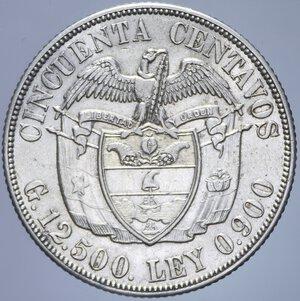 reverse: COLOMBIA 50 CENTAVOS 1934 AG. 12,56 GR. qSPL