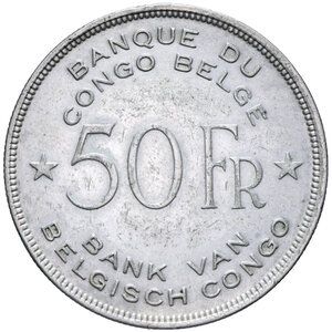 reverse: CONGO BELGA 50 FRANCHI 1944 AG. 17,36 GR. BB-SPL
