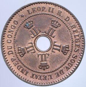 obverse: CONGO BELGA 2 CENT. 1888 3,94 GR. FDC ROSSO