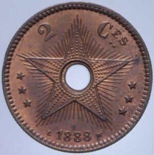 reverse: CONGO BELGA 2 CENT. 1888 3,94 GR. FDC ROSSO