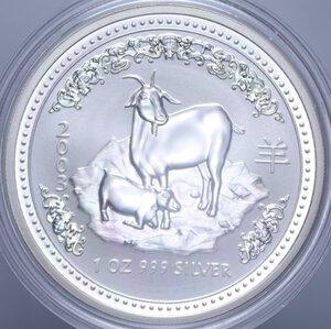 obverse: AUSTRALIA ELISABETTA II 1 DOLLARO 2003 CAPRA AG. 31,11 GR. PROOF