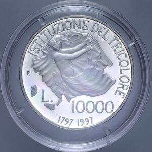 reverse: 10000 LIRE 1997 TRICOLORE NC AG. 22 GR. IN COFANETTO PROOF