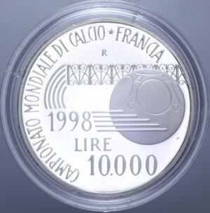 reverse: 10000 LIRE 1998 MONDIALI DI CALCIO FRANCIA  98 NC AG. 22 GR. IN COFANETTO PROOF
