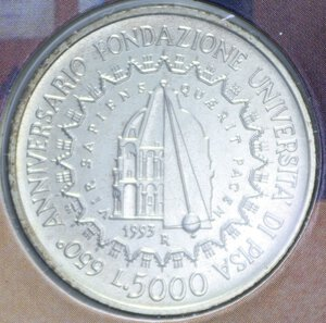 reverse: 5000 LIRE 1993 UNIVERSITA  DI PISA AG. 18 GR. IN FOLDER FDC