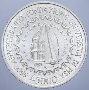reverse: 5000 LIRE 1993 UNIVERSITA  DI PISA AG. 18 GR. FDC