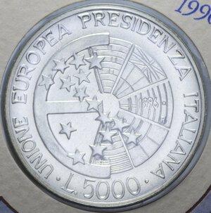 reverse: 5000 LIRE 1996 PRESIDENZA ITALIANA UE AG. 18 GR. IN FOLDER FDC