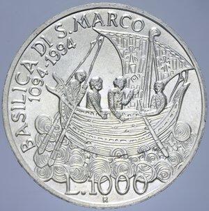 reverse: 1000 LIRE 1994 BASILICA DI SAN MARCO AG. 14,6 GR. FDC