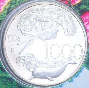 reverse: 1000 LIRE 1994 FLORA E FAUNA DA SALVARE AG. 14,6 GR. IN FOLDER FDC