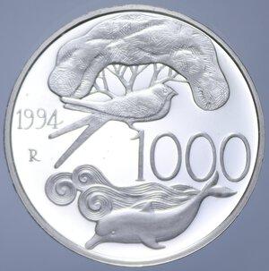 reverse: 1000 LIRE 1994 FLORA E FAUNA DA SALVARE NC AG. 14,6 GR. IN FOLDER PROOF