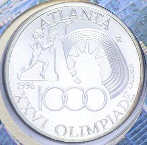 reverse: 1000 LIRE 1996 OLIMPIADE DI ATLANTA AG. 14,6 GR. IN FOLDER FDC
