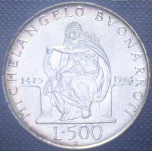 reverse: 500 LIRE 1975 MICHELANGELO BUONARROTI AG. 14,6 GR. IN FOLDER FDC