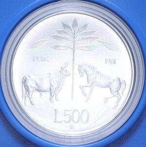 reverse: 500 LIRE 1981 VIRGILIO AG. 11 GR. IN SCATOLA E COFANETTO FDC