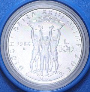 reverse: 500 LIRE 1984 OLIMPIADE DI LOS ANGELES AG. 11 GR. IN SCATOLA E COFANETTO FDC