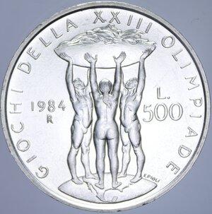 reverse: 500 LIRE 1984 XXIII OLIMPIADE AG. 11 GR. FDC