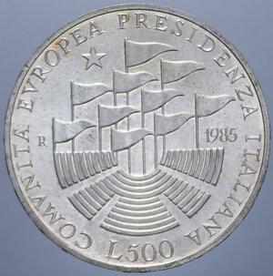reverse: 500 LIRE 1985 PRESIDENZA ITALIANA CEE AG. 11 GR. FDC
