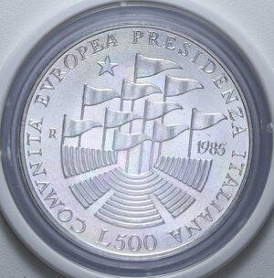 reverse: 500 LIRE 1985 PRESIDENZA ITALIANA CEE AG. 11 GR. IN SCATOLA E COFANETTO FDC
