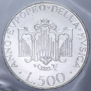 reverse: 500 LIRE 1985 MUSICA AG. 11 GR. IN FOLDER FDC