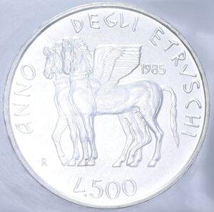 reverse: 500 LIRE 1985 ETRUSCHI AG. 11 GR. IN FOLDER (DANNEGGIATO) FDC