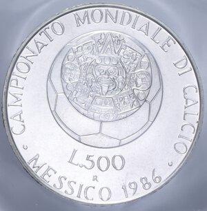 reverse: 500 LIRE 1986 MESSICO  86 AG. 11 GR. IN FOLDER FDC