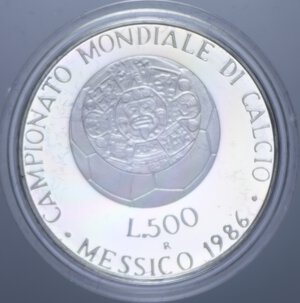 reverse: 500 LIRE 1986 MESSICO  86 NC AG. 11 GR. IN COFANETTO PROOF