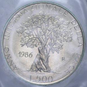 reverse: 500 LIRE 1986 PACE AG. 11 GR. IN FOLDER FDC