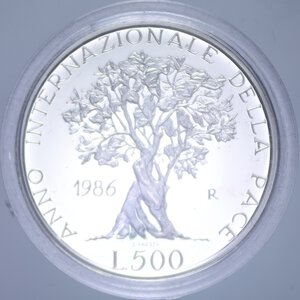 reverse: 500 LIRE 1986 PACE NC AG. 11 GR. IN COFANETTO PROOF