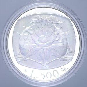 reverse: 500 LIRE 1987 FAMIGLIA NC AG. 11 GR. IN COFANETTO PROOF