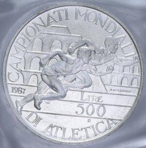 reverse: 500 LIRE 1987 ATLETICA AG. 11 GR. IN FOLDER FDC